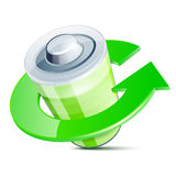 Glossy battery icon with recycle arrow symbol Stock Photography