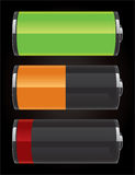 Glossy battery icons Royalty Free Stock Image