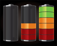 Glossy battery icons Royalty Free Stock Photos
