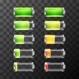 Glossy battery icons with different charge level  on white Stock Image