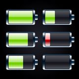 Glossy battery icons set Stock Photography
