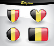 Glossy Belgium flag icon set Royalty Free Stock Photos
