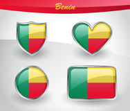 Glossy Benin flag icon set Stock Images