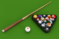 Glossy billiard balls set with cue Royalty Free Stock Images