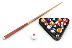 Glossy billiard balls set with cue Royalty Free Stock Image