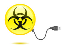 Glossy biohazard icon USB cable Stock Photos