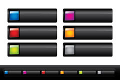 Glossy black buttons Stock Photos