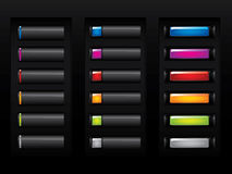 Glossy black buttons. Please check my portfolio for more button illustrations Stock Images