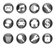 Glossy black buttons royalty free stock images