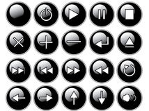 Glossy Black Buttons Stock Photography