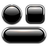 Glossy black buttons Royalty Free Stock Photo