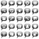 Glossy black chat bubble icons Royalty Free Stock Photography