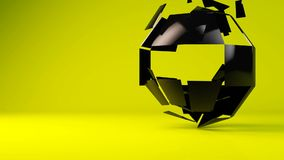 Glossy black geometric object particle transformation stock footage
