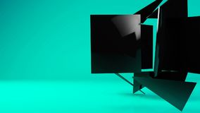 Glossy black geometric object particle transformation stock video