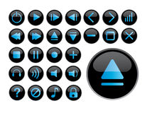 Glossy black icons stock photos