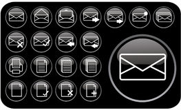 Glossy black icons part1 Royalty Free Stock Photo