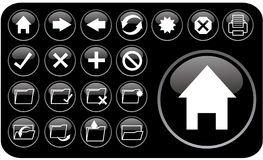 Glossy black icons part2 Royalty Free Stock Photography