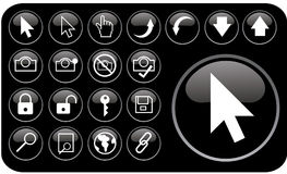 Glossy black icons part3. A complete set of glossy black icons Stock Image