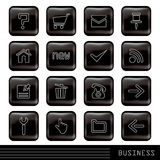 Glossy black icons set Stock Images