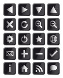 Glossy Black Square Navigation Web Icons Stock Photo