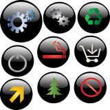 Glossy black web buttons Stock Images