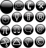 Glossy black web buttons Royalty Free Stock Image