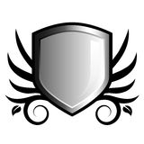 Glossy black and white shield emblem. With floral accents Royalty Free Stock Photography