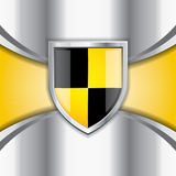 Glossy black and yellow shield Stock Images