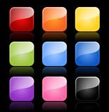 Glossy blank buttons in color variations Stock Photography