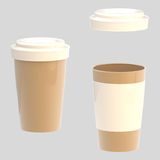 Glossy blank coffee cup closed and opened Royalty Free Stock Images