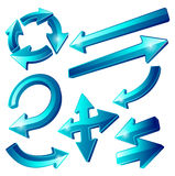 Glossy Blue Arrow Icons Stock Image