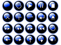 Glossy Blue Buttons Royalty Free Stock Photography