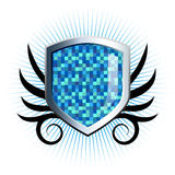 Glossy blue checkered shield emblem. With floral vine accents Stock Images