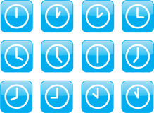 Glossy blue clocks. A clock for every hour Stock Images