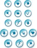 Glossy blue collection of buttons and icons Royalty Free Stock Photo