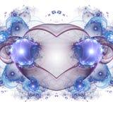 Glossy blue fractal heart. Valentine`s day motive, digital artwork for creative graphic design Royalty Free Stock Image