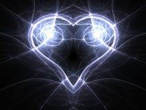 Glossy blue fractal heart. Valentine`s day motive, digital artwork for creative graphic design Stock Photos