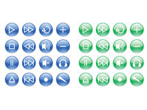 Glossy blue and green media buttons Stock Photography