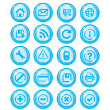Glossy blue icon set for web. Glossy shiny blue icon set for web websites Royalty Free Stock Photos