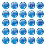 Glossy blue icon set for web Stock Photography