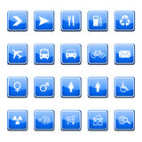 Glossy blue icons Stock Images