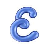 Glossy blue letter E uppercase. 3D rendering Royalty Free Stock Photo