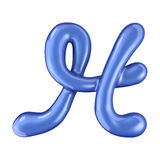 Glossy blue letter H uppercase. 3D rendering Royalty Free Stock Photos
