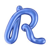 Glossy blue letter R uppercase. 3D rendering Royalty Free Stock Photography