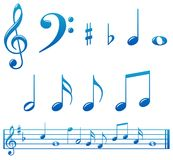 Glossy blue music notes. Set of glossy music notes and markings with score Royalty Free Stock Photos