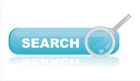 Glossy blue search banner Stock Image