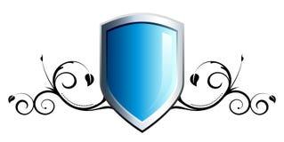 Glossy blue shield emblem Stock Image