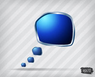 Glossy blue speech bubble Stock Images