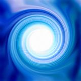 Glossy Blue Swirl. Glossy and shiny cyan aqua blue swirly swirl radial design with round white center. Background, backdrop and or liquid creamy texture Stock Image