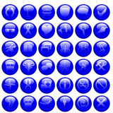 Glossy Blue Vector Icons Royalty Free Stock Photo